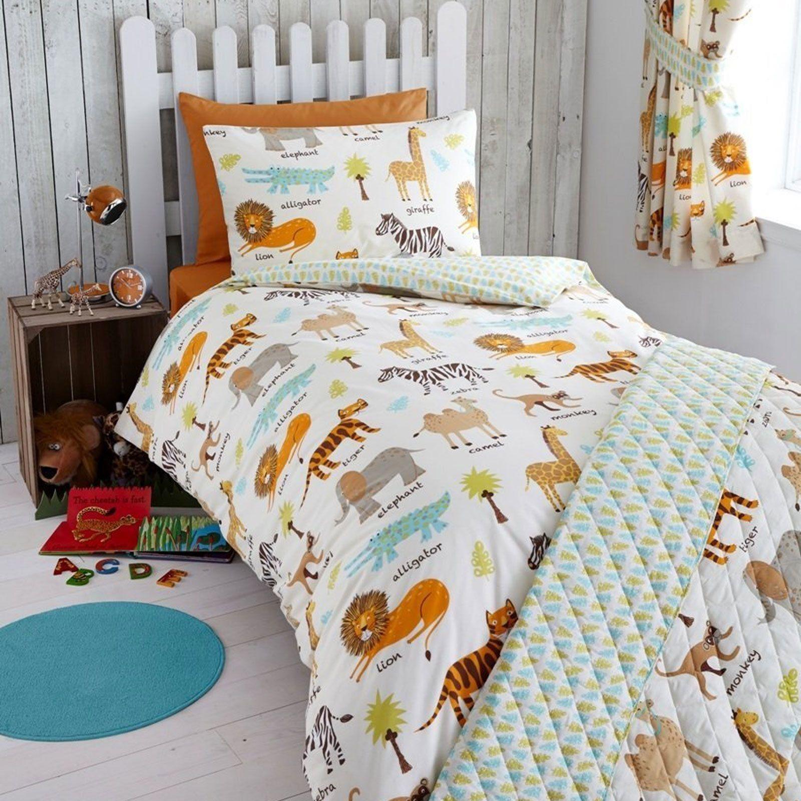 MY SAFARI ZEBRA ELEPHANT MONKEY JUNIOR BABY BOY COT BED DUVET COVER BEDDING SET