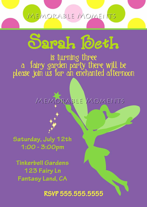 Printable Invitations Tinkerbell Fairy By Memorablemomentsst 13 00
