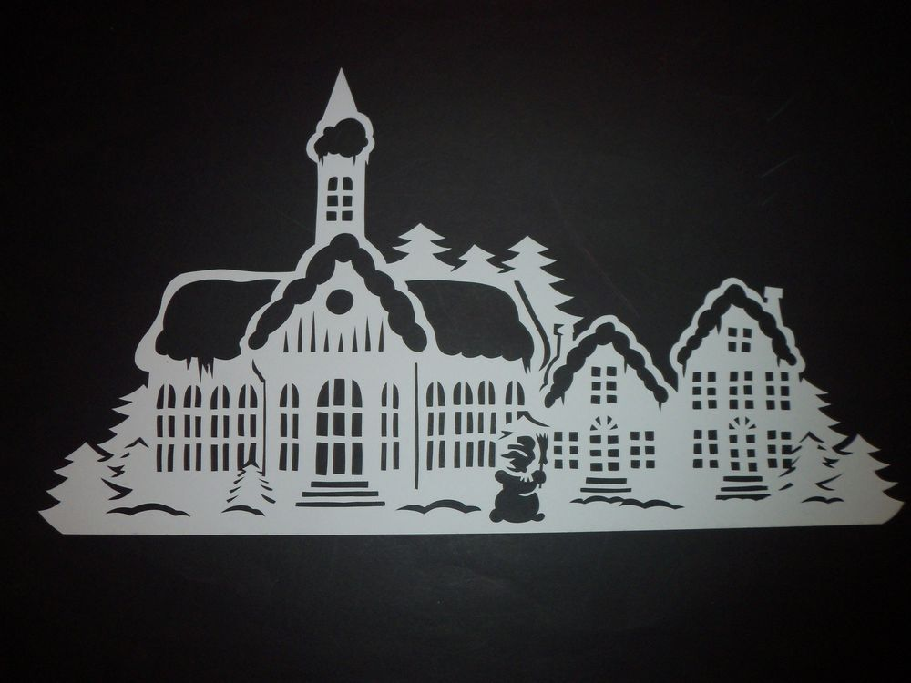 winterstadt filigranes fensterbild aus tonkarton winter weihnachten weihnachtsmarkt. Black Bedroom Furniture Sets. Home Design Ideas