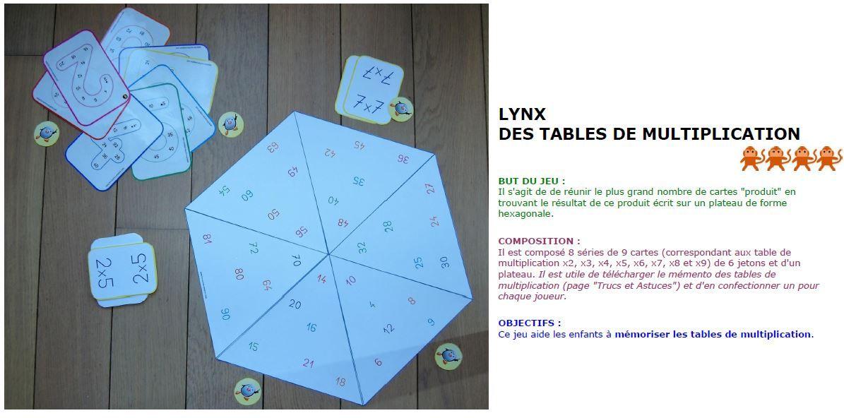 Plein de jeux a imprimer enseignement table de - Tables de multiplications a imprimer ...