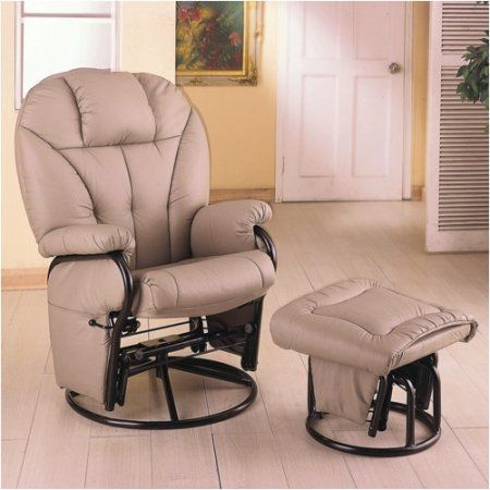 Latest Coaster Leatherette Cushion Swivel Glider and Ottoman Beige - Cool rocker and ottoman Simple