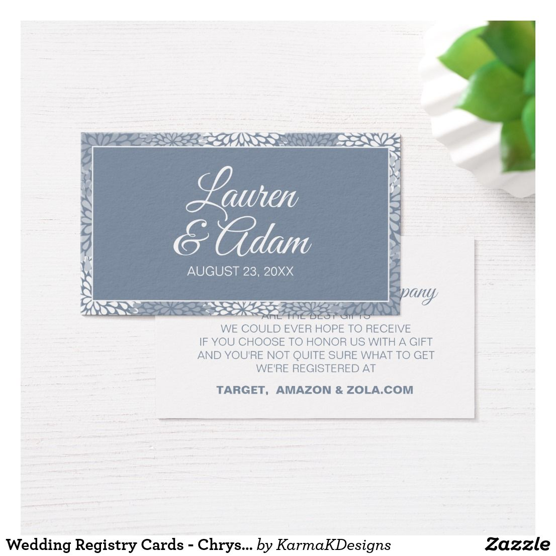 Wedding Registry Cards Chrysanthemum Dusty Blue Dusty Blue