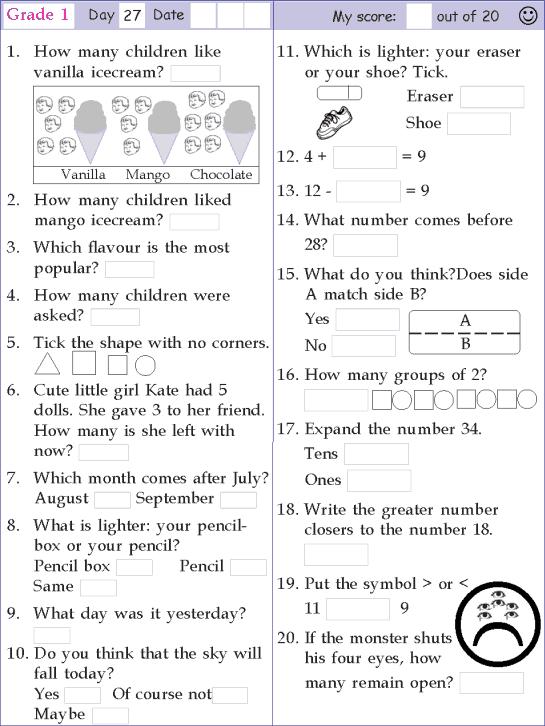 Mental Math Grade 1 Day 27 | Mental maths worksheets, 1st ...