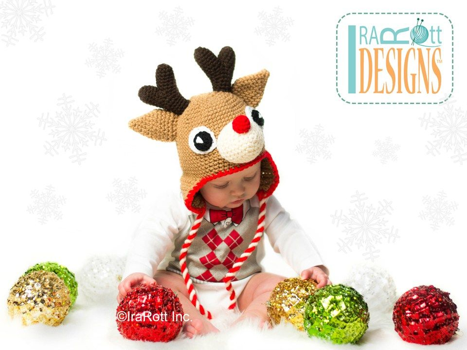 Blizzard the Reindeer Hat Crochet Pattern PDF | Pinterest ...