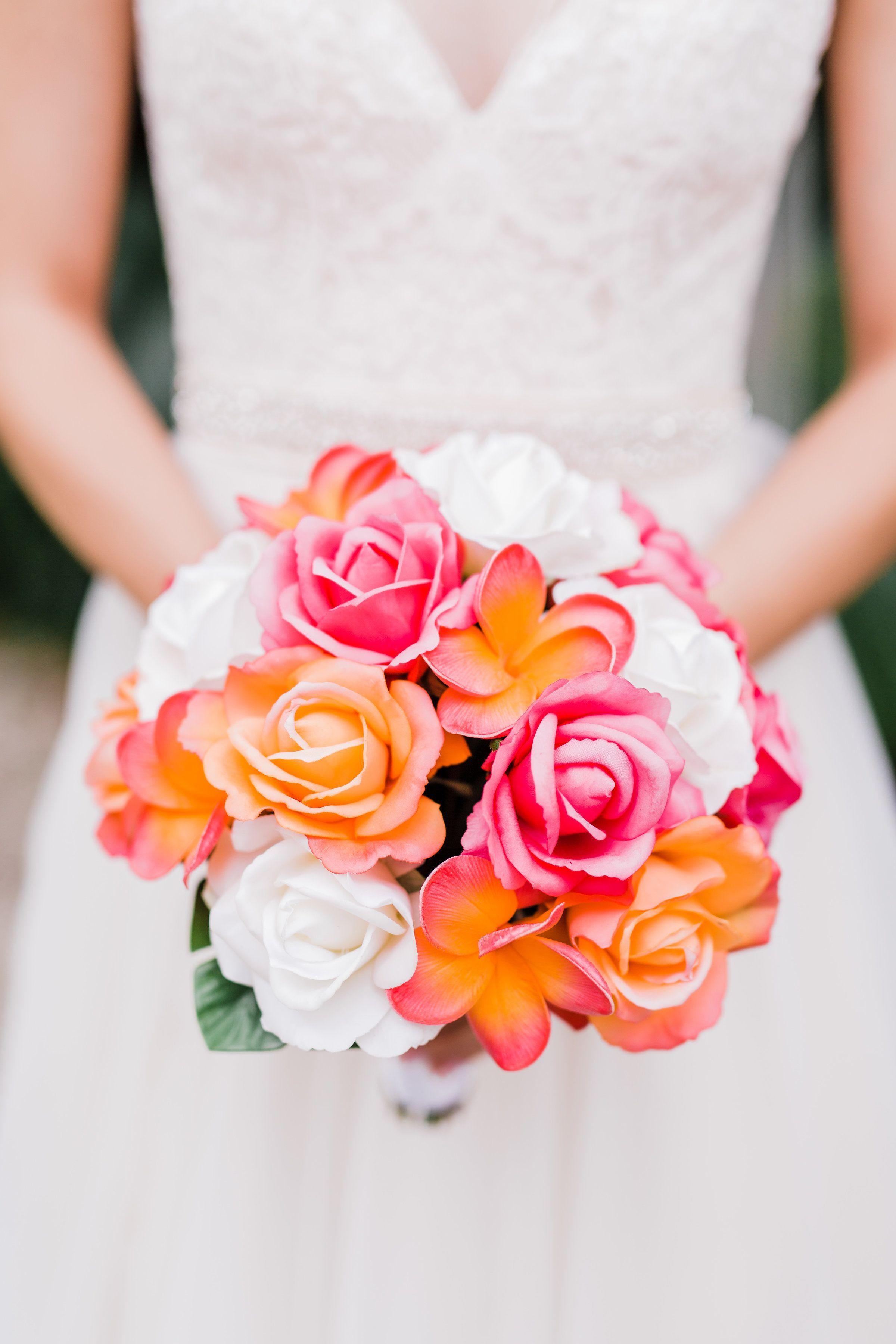 Tropical Pink And Orange Wedding Flower Bouquet Silk Wedding