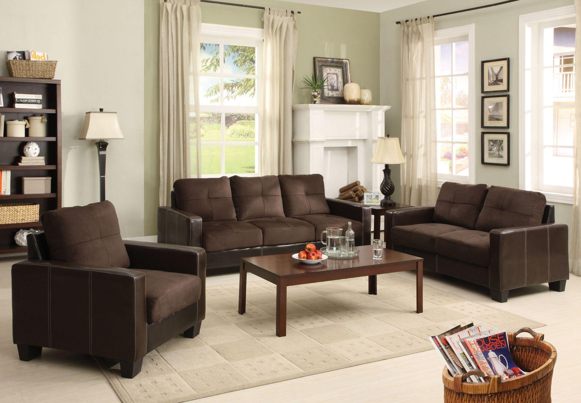 Hokku Designs Townsend Microfiber 3 Piece Living Room Set in