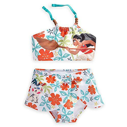 Attractive Disney Moana Swimsuit For Girls   2 Piece Size White