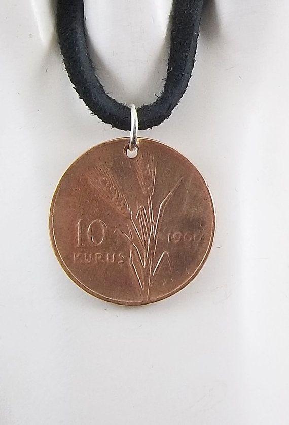 turkey coin necklace 10 kurus coin pendant by autumnwindsjewelry