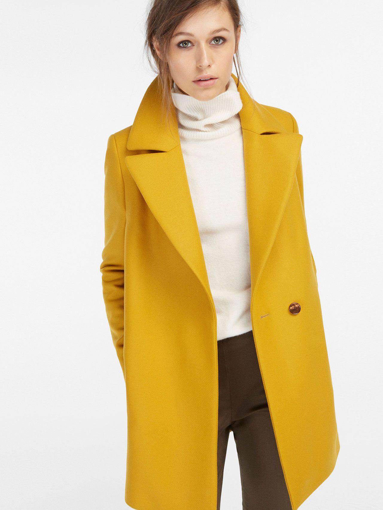 Manteau jaune moutarde femme