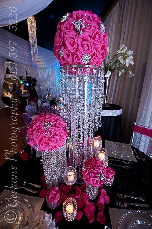 Hot pink bling bride centerpiece wedding pinterest pink bling centerpieces votives candle i said yes now comes all t junglespirit Images