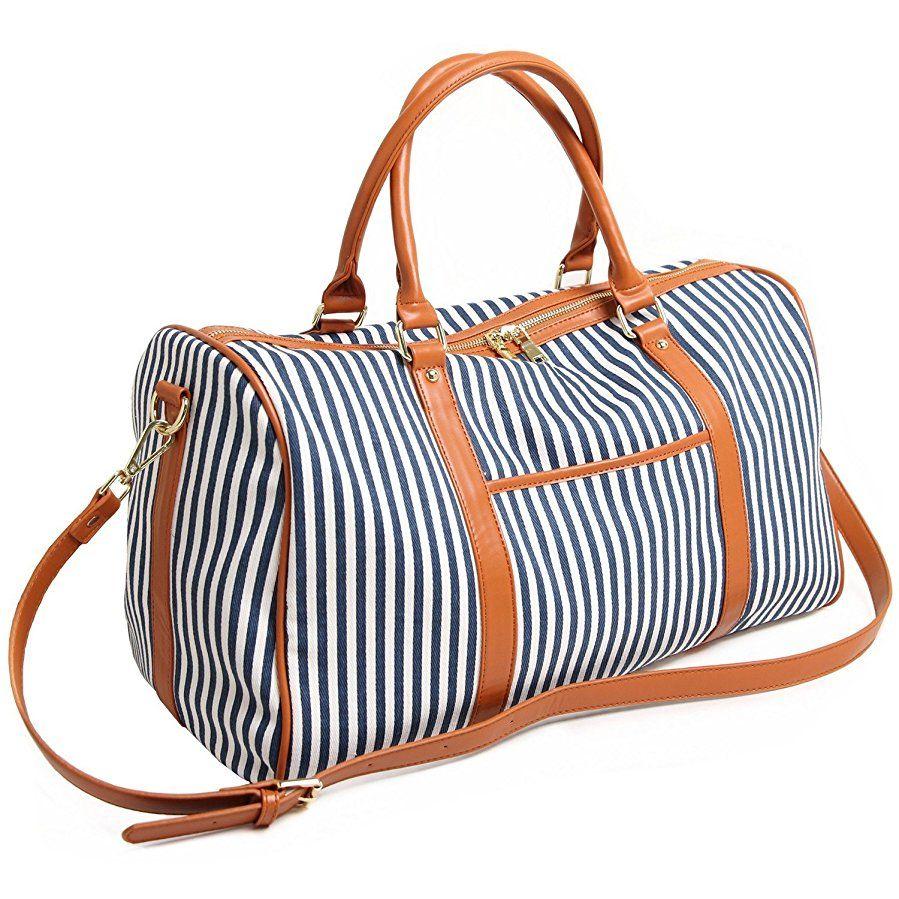 Ladies Women Canvas Weekender Bag Travel Duffel Tote Bag Overnight