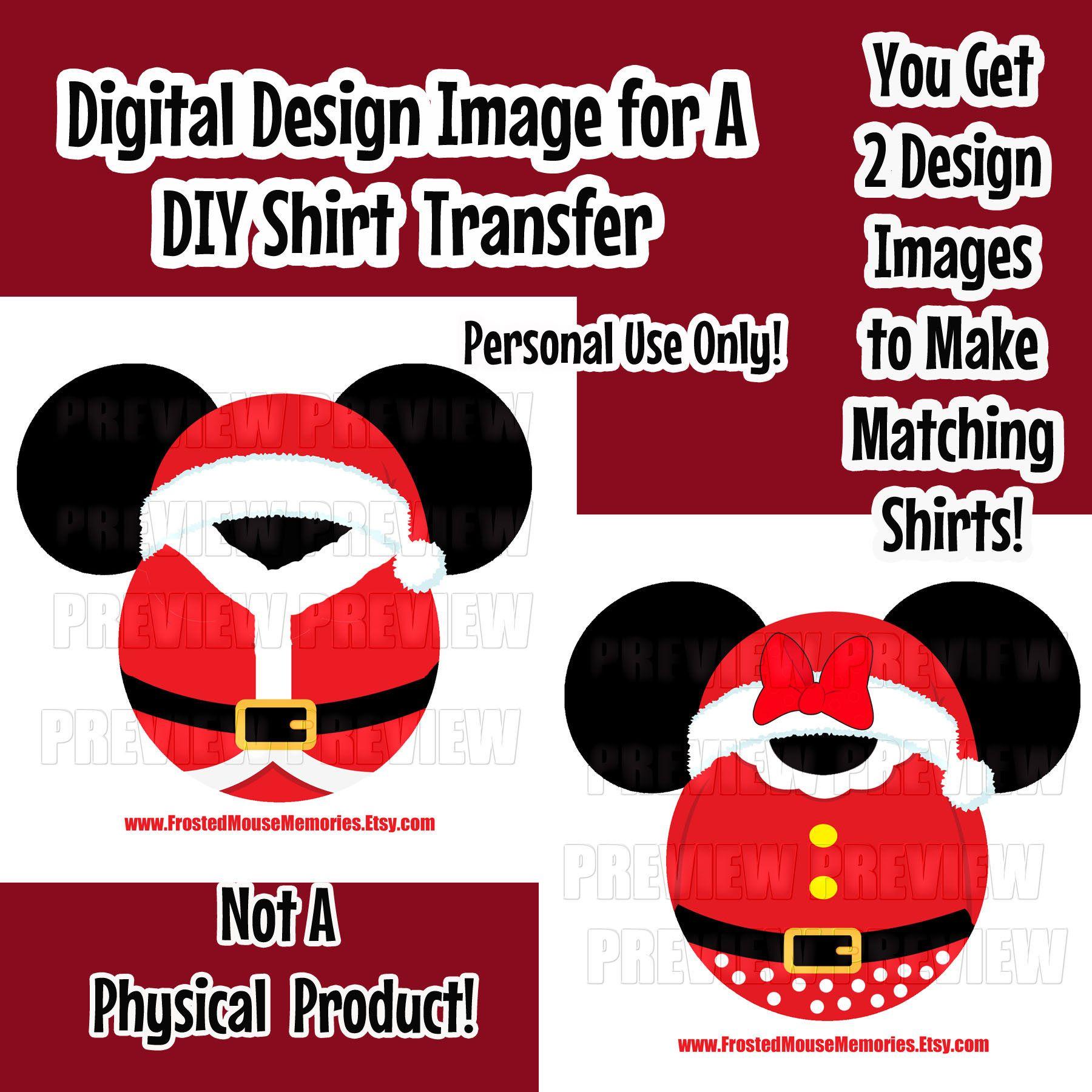 Digital Printable Santa Claus Mouse Head Shirt Transfer Image DIY Disney Shirts Santa Mickey Ears Santa Minnie Ears Family Disney Shirts DIY