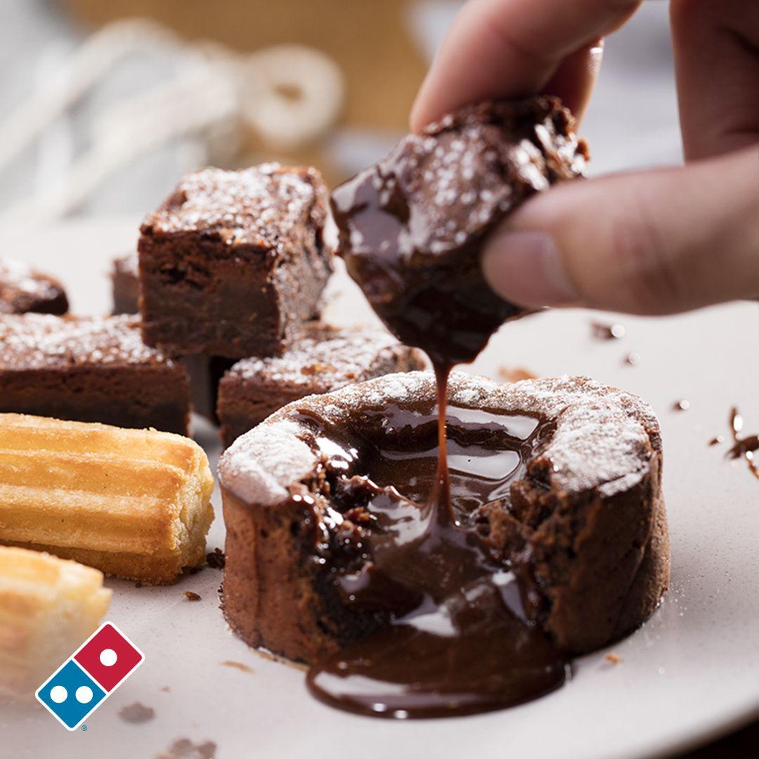 Dip your dominos choc fudge brownies into your gooey