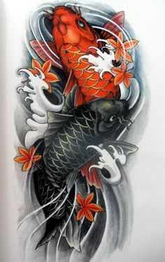 Two Koi Fish Need Red Symbolizes Being A Mother And Having Strength Black For Overcoming Difficulti Japanese Koi Fish Tattoo Koi Tattoo Design Black Koi Fish