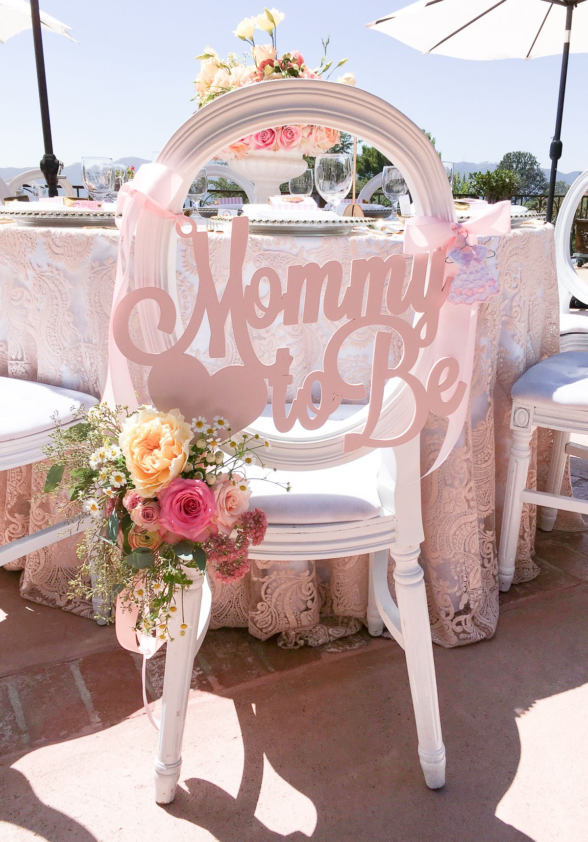 baby shower chair decorations outdoor wedding chairs sign mommy to be wooden cutout in custom