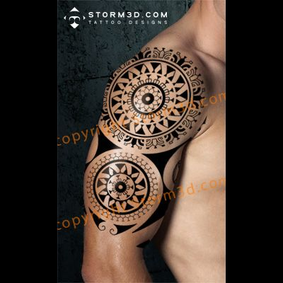 1d8cdebe0 Polynesian Mandala tattoo with compass and abstract sun design ...