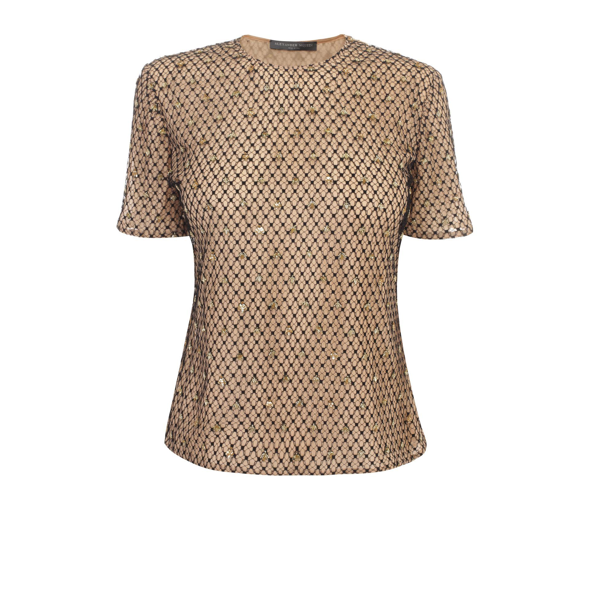 Bee Embroidered Honeycomb Tulle Top Alexander McQueen | Harness Shirt | Shirts |