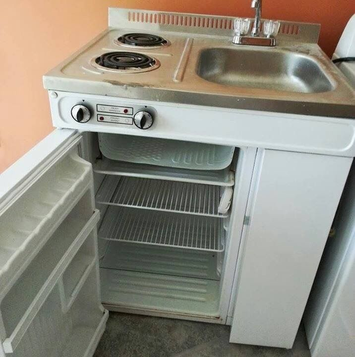 Vintage Cooktop Sink Fridge Combo With