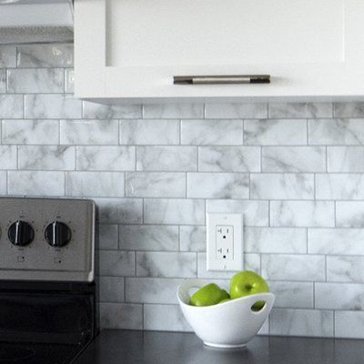 Smart Tiles Mosaik Metro Carrera 11 56 Quot X 8 38 Quot Peel Amp Stick Subway Tile In White An Kitchen Backsplash Peel And Stick Smart Tiles Stick On Tiles