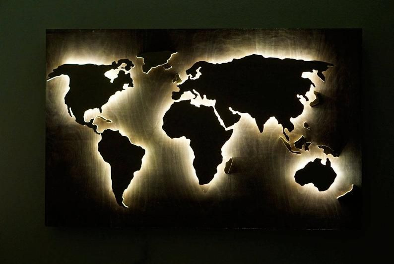 Wood World Map Wall Art Flat Earth Led World Map As Wall Etsy Wood World Map World Map Wall Art Led Wall Art