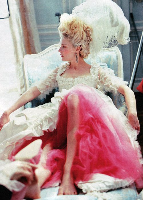 Kirsten Dunst on the set of Marie Antoinette