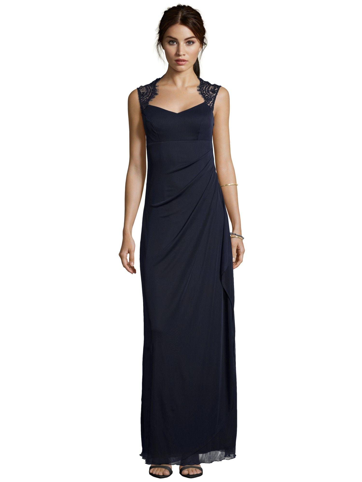 MARIPOSA Abendkleid mit feiner Spitze in Blau / Türkis online