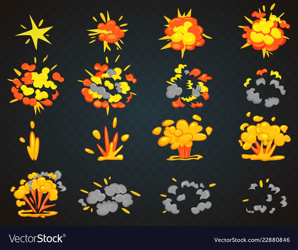 Key frames of bomb cartoon explosion animation vector