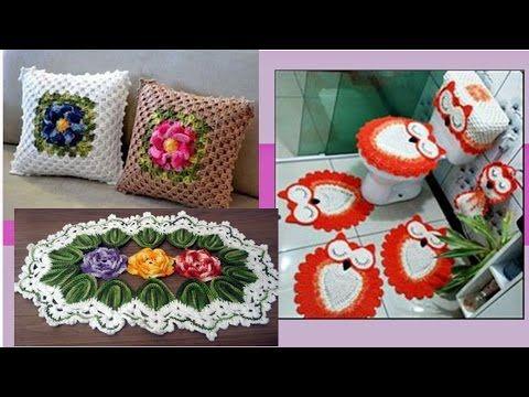 tejidos para el hogar cojines juego de ba os y alfombras tejidos a crochet im genes youtube. Black Bedroom Furniture Sets. Home Design Ideas
