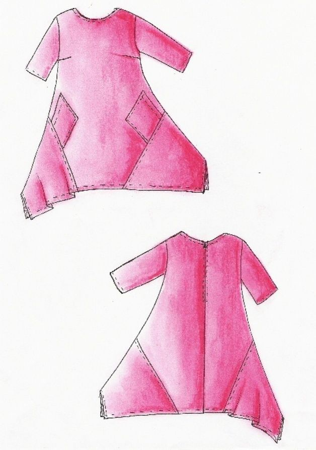 Lagenlook Einzel - Schnittmuster für Kleid Malibu | Costura ...