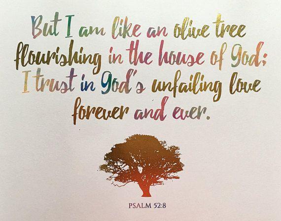 Bible verse Digital Print Psalm 52:8 | Scripture Pictures