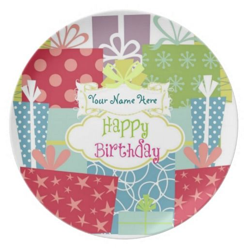 Personalize it! Gifts Galore Birthday Plate Plates - Personalize this fun & colorful birthday plate OnLiine!  Special keepsake birthday gift for everyone to celebrate.  see other gifts with this design in our stores www.zazzle.com/drapestudio  or www.cafepress.com/drapestudio or www.etsy.com/shop/drapestudio or our main site www.drapestudio.com