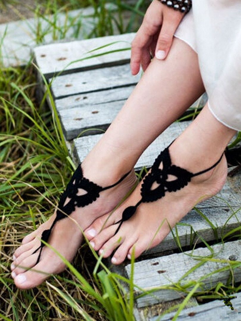 Black Cut Out Crochet Toe Ring Barefoot Sandals