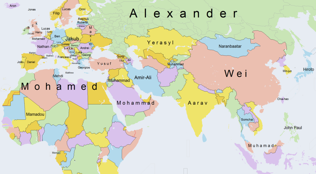 Map the most popular boys names around the world