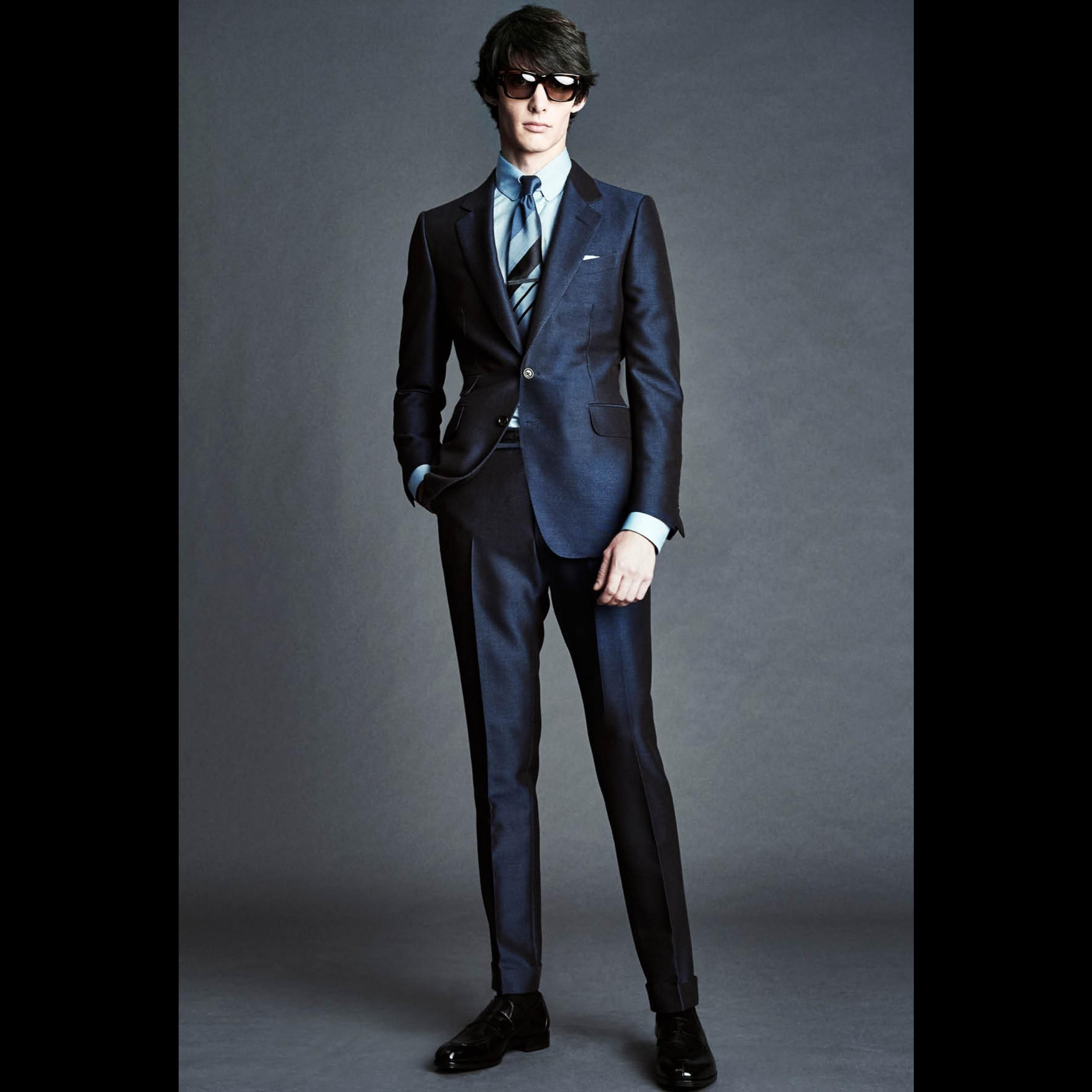 Mens Ss16 Look 8 Teal Cangiante Tonic Buckley Half Lined Notched