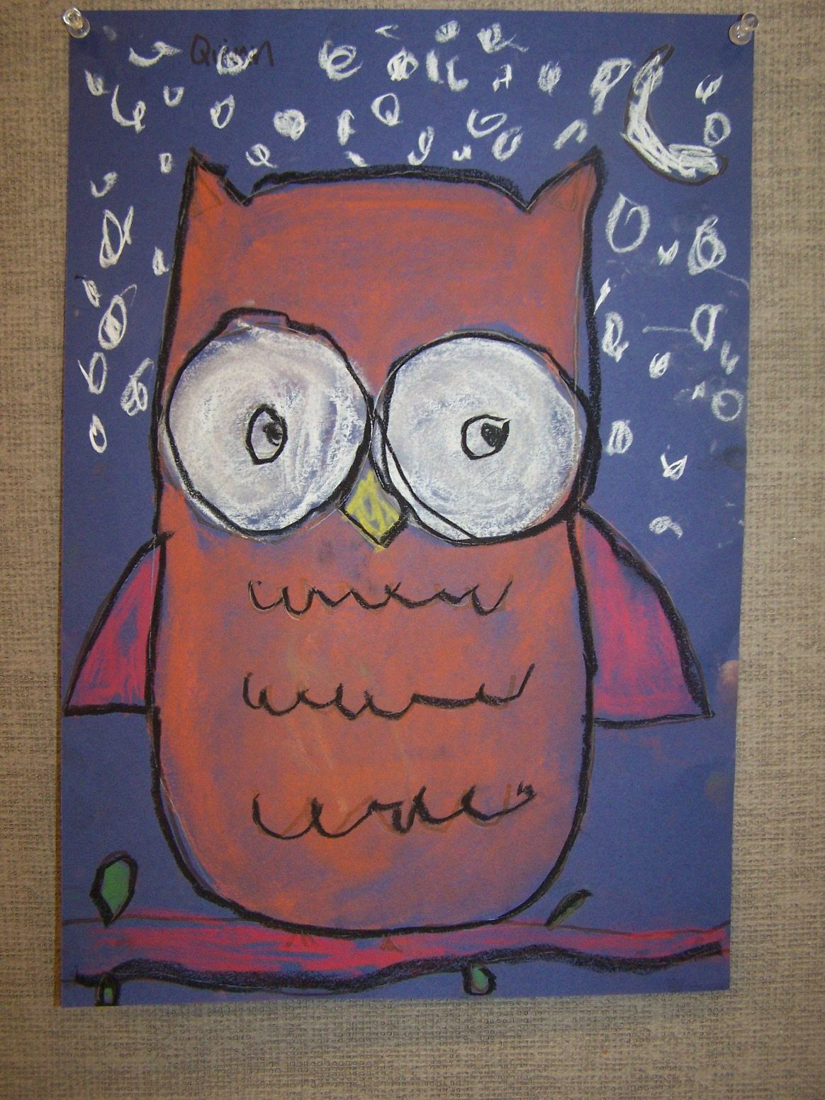 Kinder 1st Grade Owls Lored Paper Black Glue Outline
