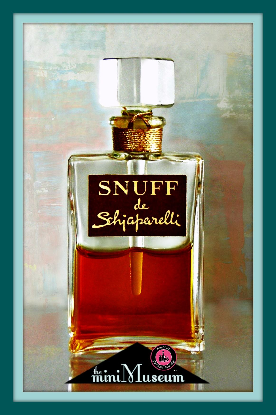 SNUFF de Schiaparelli miniature perfume bottle by Parfums Schiaparelli. C1949; 2.38 inches high. | The Mini Museum...telling the history of perfume one mini at a time.