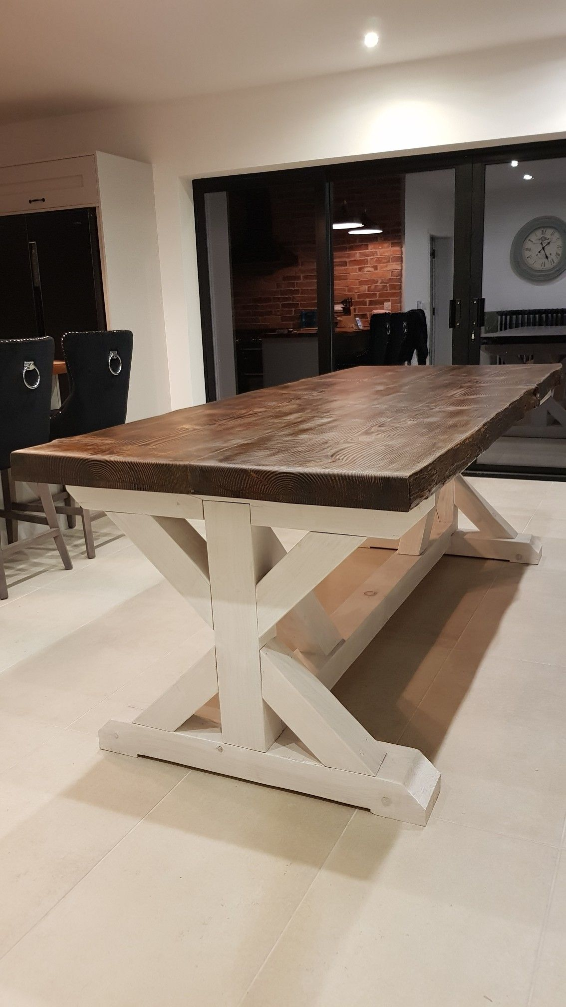 DIY Live Edge Trestle Farmhouse Table, Rustic Table
