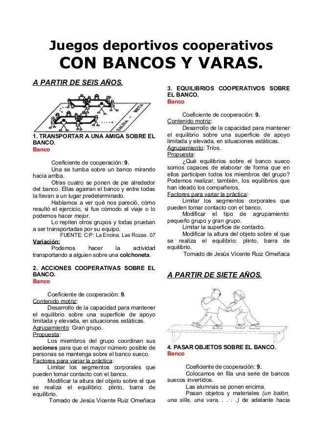 08 Juegos Cooperativos Con Bancas Y Bastones Educacion Fisica