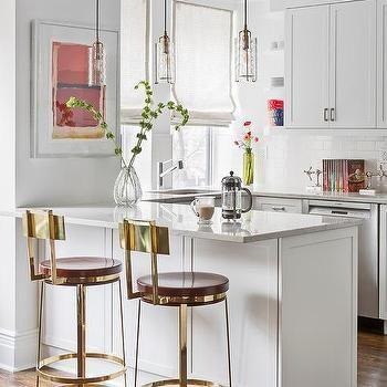Unique White Kitchen island with Bar Stools
