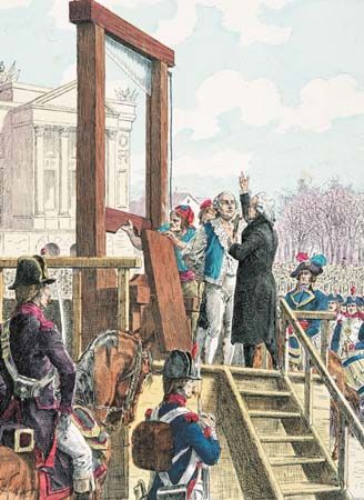 1793 King Louis Vxi Execution By Guillotine Was Taken Place