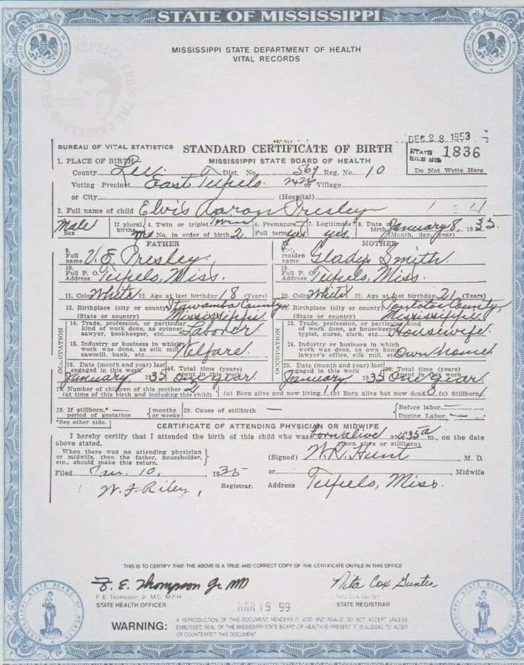 birth certificate of elvis presley | elvis | pinterest | birth ...