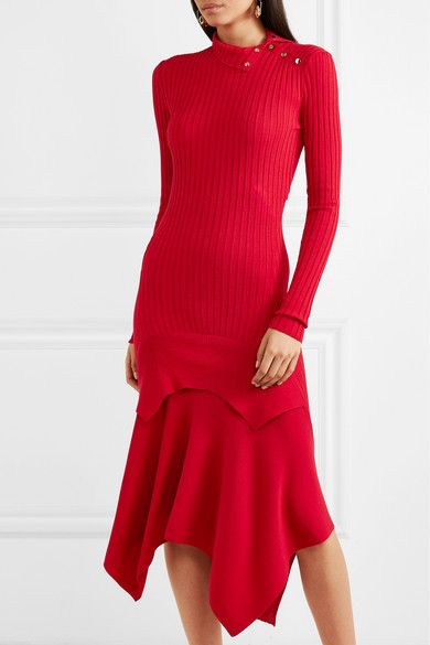 Asymmetric Ribbed Wool And Silk-blend Dress - Red Stella McCartney TfKcR36f