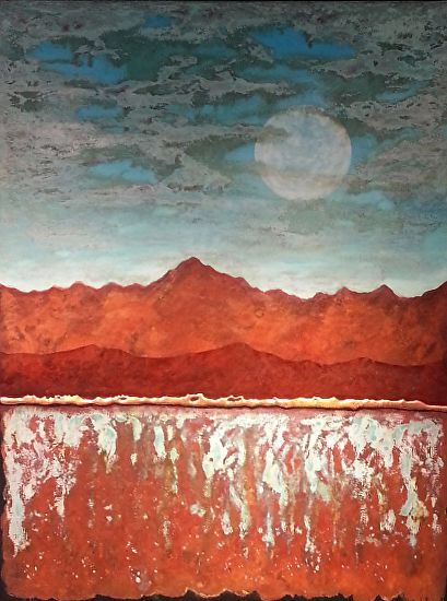 Contemporary Abstract Landscape Painting Patina Turquoise Sleepy Mountain Moon By Contemporary Artist Brian Billow Contemporary Landscape Artists Contemporary Landscape Painting Abstract Landscape