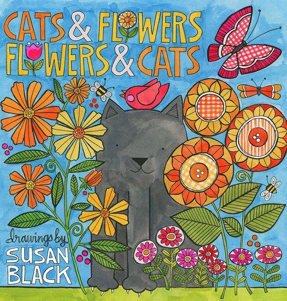 """Chats et des fleurs, des fleurs et des chats - livre de coloriage - 8 """"x 8"""", 48 pages"""