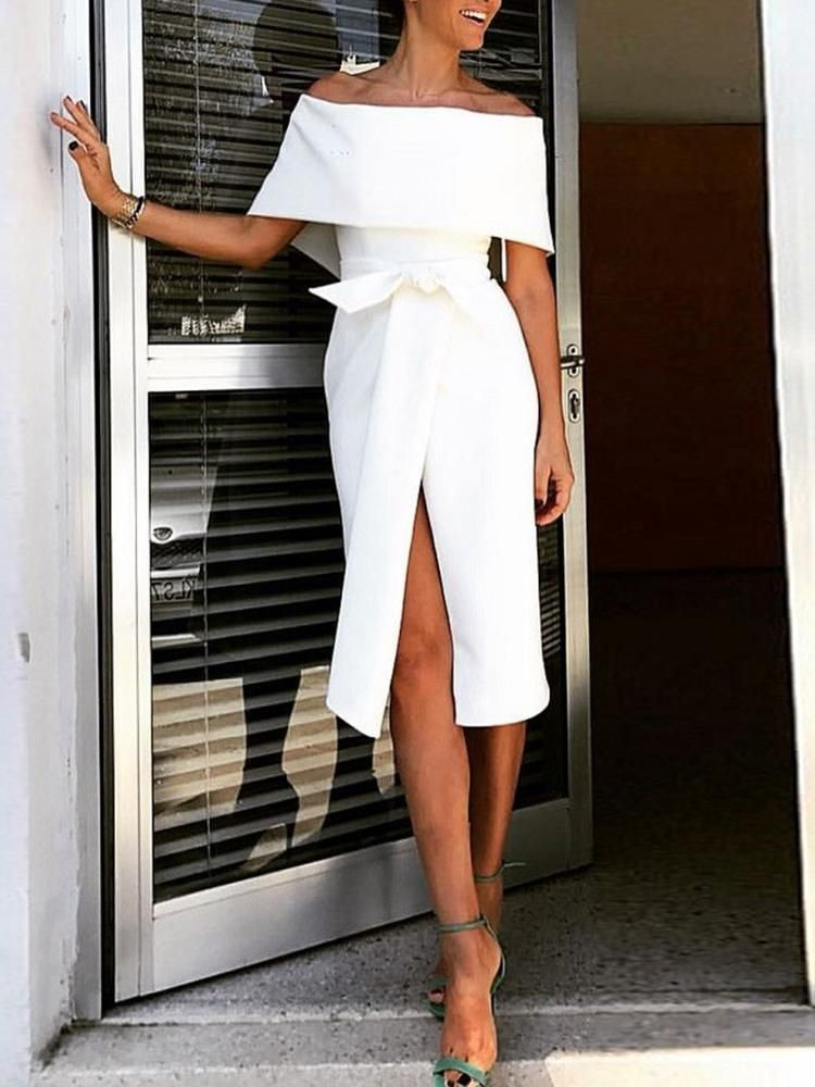 c36c8ab12c5 Shop Fold Over Off Shoulder Belted High Slit Dress – Discover sexy women  fashion at Boutiquefeel