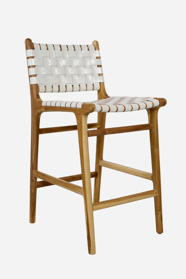 Leather Bar Stool with High Back Strapping Teak & White