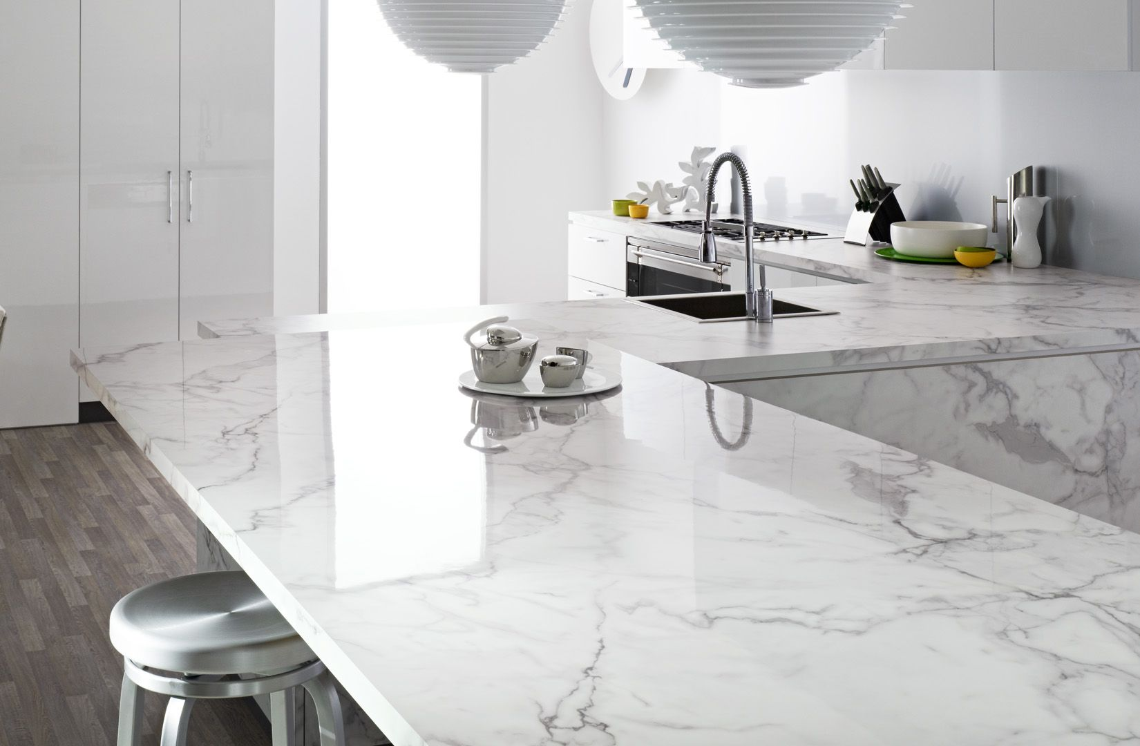 Laminex 180fx Carrara Marble Quartz Kitchen Countertops White