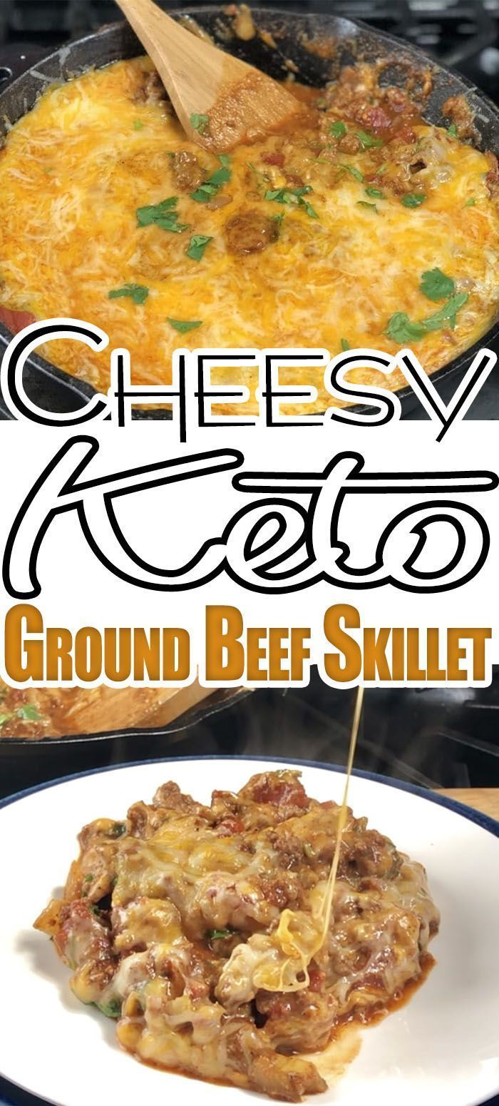 Cheesy Keto Ground Beef Taco Skillet I came up with this Cheesy Ground Beef Keto Taco Skillet.  This is a great recipe and topped with sour cream these keto tacos are amazing. Check out the nutritional information below, this low carb taco recipe is only 4 net grams of carbs per serving!