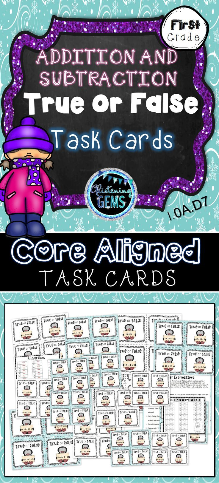 Addition and Subtraction Task Cards Winter Theme - True or False ...