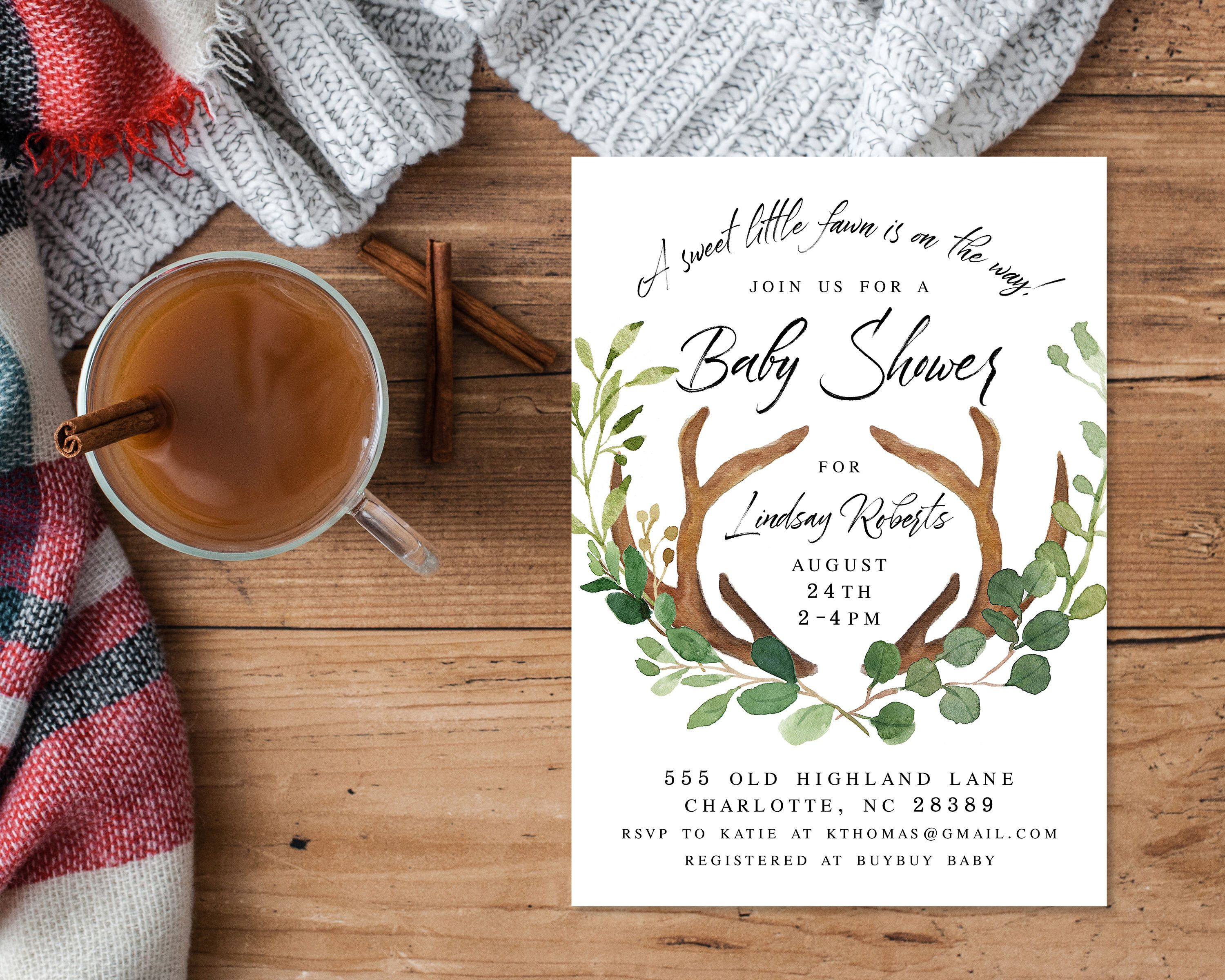 Woodland Baby Shower Invitation Download Greenery Antler Boy Baby